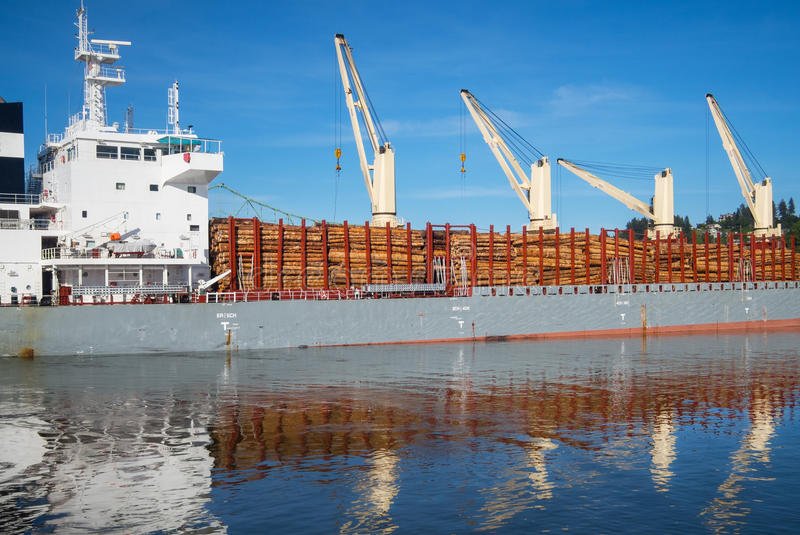Ship loaded with timber royalty free stock images