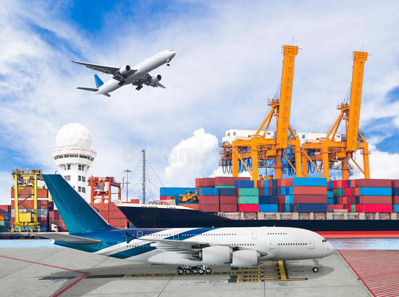 Ship loading container with freight cargo plane in port for logistic import export concept royalty free stock photography
