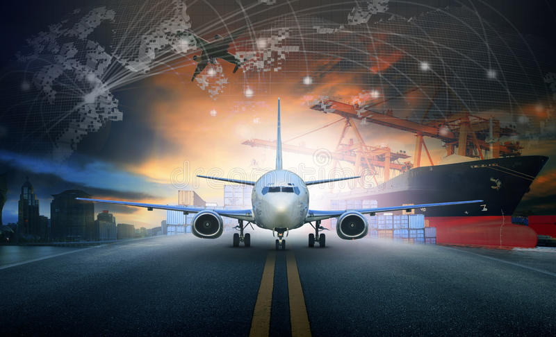 Ship loading container in import - export pier and air cargo plane approach in airport use for transport and freight logistic bus. Iness industry background royalty free stock photography