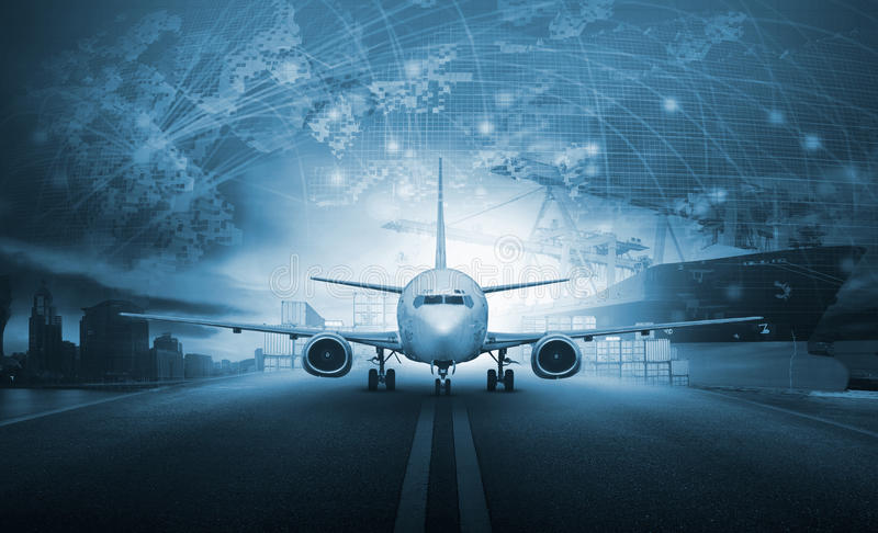 Ship loading container in import - export pier and air cargo plane approach in airport use for transport and freight logistic bus. Iness industry background royalty free stock photo