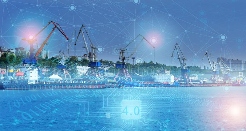 Ship loading control using the Internet of things technologies, distribution of deliveries around the world in automatic mode. ind. Ustry 4.0 in the future of stock photos