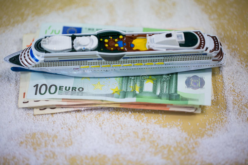 Ship lying on money, deck chair, vacation. Cruise royalty free stock photo