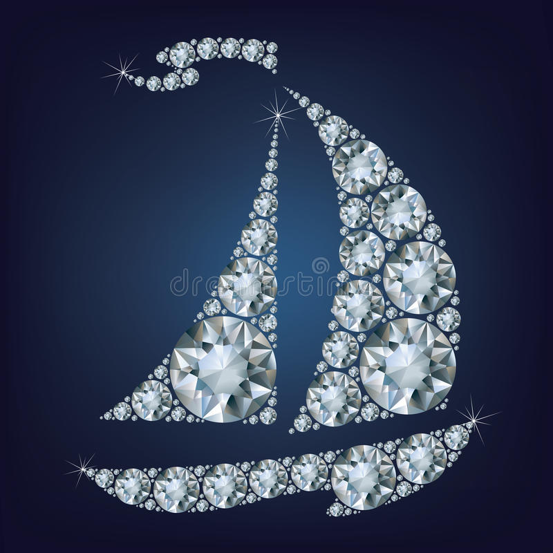 Ship made up a lot of diamonds royalty free illustration
