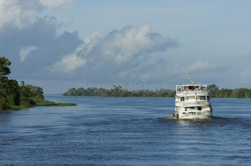 Ship. Manaus. Brazil. Manaus, Brazil: Ship sailing up the Amazon River transporting cargo and near Manaus stock image
