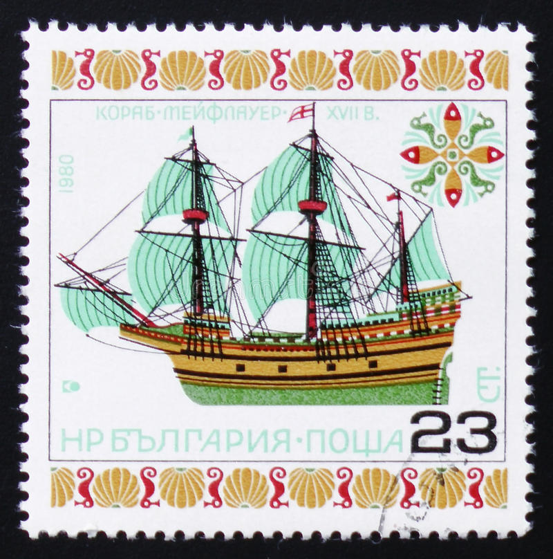 Ship Mayflower, circa 1980. MOSCOW, RUSSIA - FEBRUARY 12, 2017: A Stamp printed in Bulgaria a shows image ship Mayflower, circa 1980 stock images