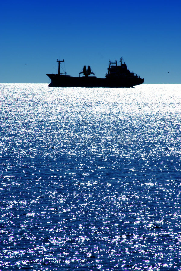Ship on Mediterranean Sea stock photo