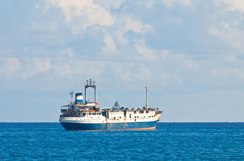 Ship in Mediterranean sea near Cyprus royalty free stock images