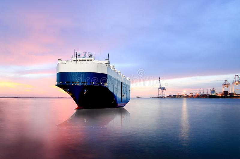 Ship mooring in the sea Carrier ship, container ships in export, import royalty free stock photos