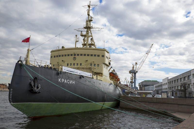 Ship-museum ice-breaker `Krasin` on the quay of the embankment royalty free stock photos