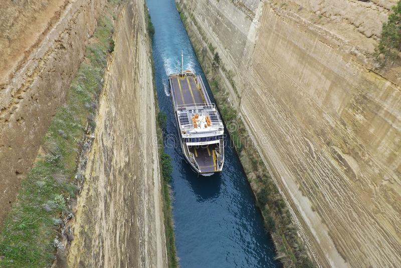 "A ship named ""Angela"" on the Corinth Canal in the Peloponnese, Greece, Europe. On the way to Athens royalty free stock photo"