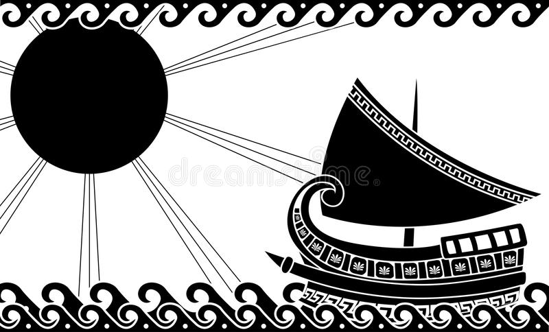 Ship in ocean in classic greek style royalty free illustration