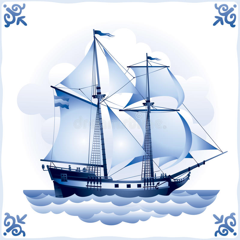 Free Ship On The Blue Dutch Tile 8, Brigantine Royalty Free Stock Photos - 21212178