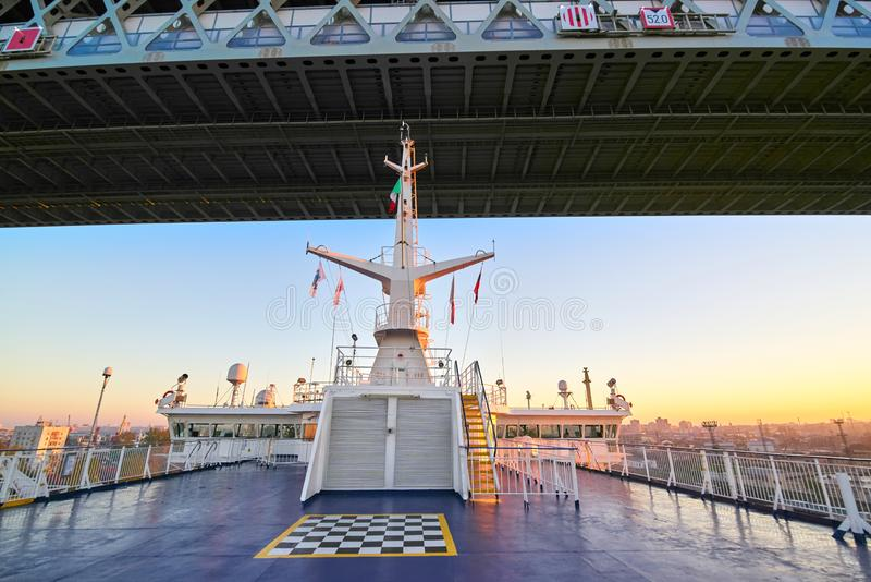 The ship passes under the bridge, view from the upper deck stock images