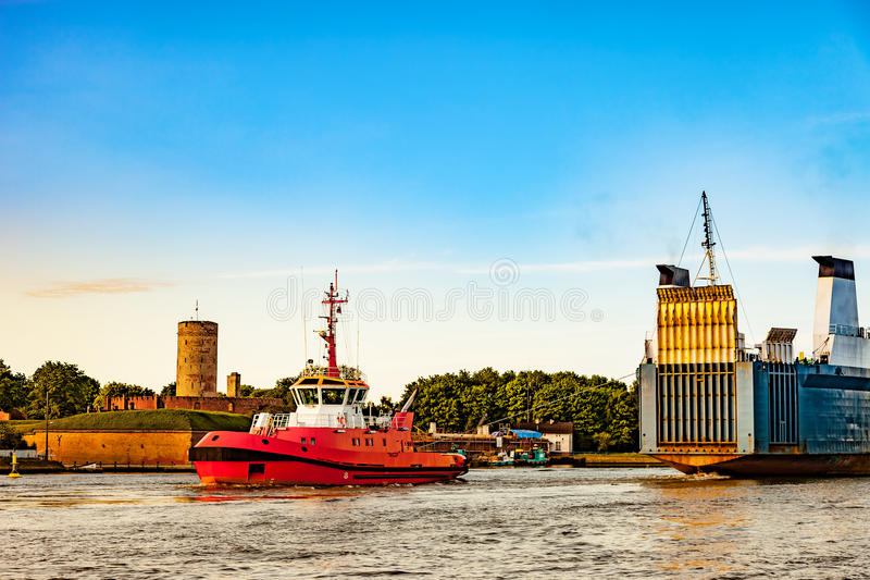 Ship in port. Ro-ro ship entering to port of Gdansk, Poland stock image