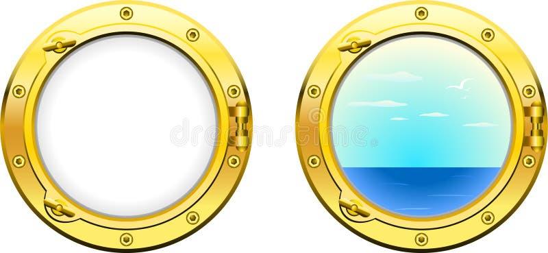 Ship porthole. A ship porthole design and view version