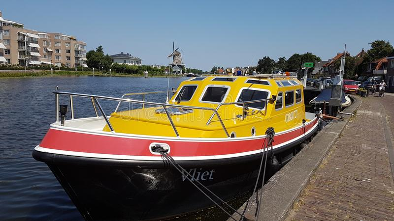 Ship of the Province of South Holland in the Netherlands named the Vliet in Leidschendam in the river named also vliet. Ship of the Province of South Holland in stock photos