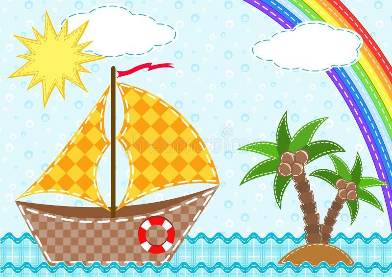 Ship and rainbow. stock illustration