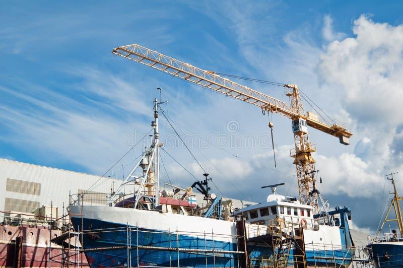Ship in repair dock stock images