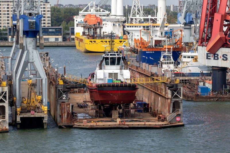 Ship repair drydock in the Port of Rotterdam stock photo