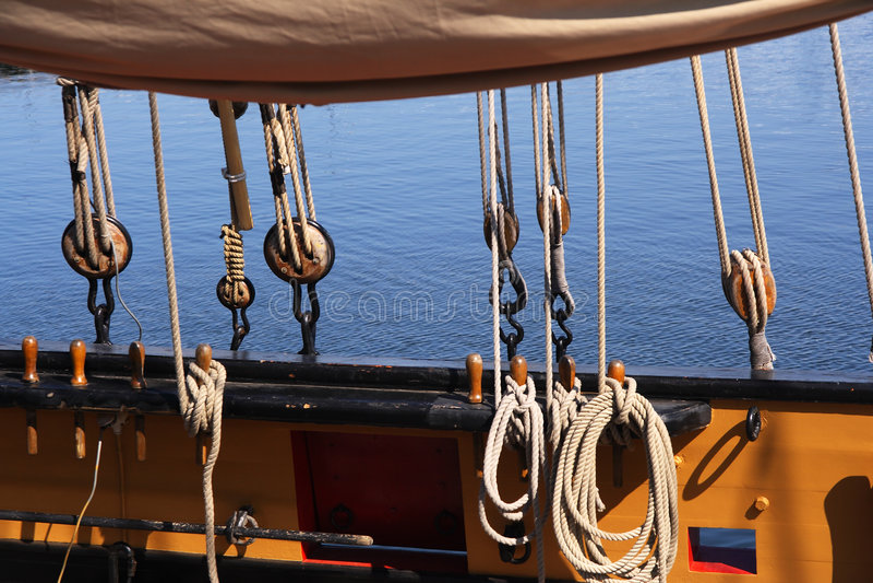 Ship rigging stock photo