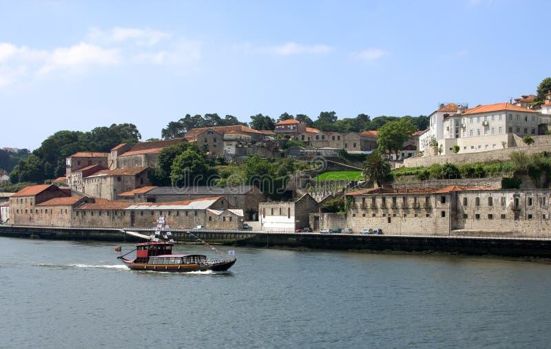 Ship on the river. Touristic boat on the portugal river Douro in Porto stock image