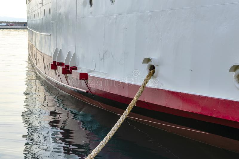 Ship rope and hull detail royalty free stock photography