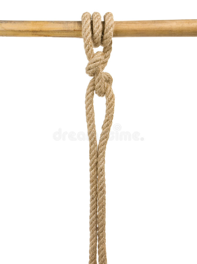 Ship ropes with a knot isolated on white stock images
