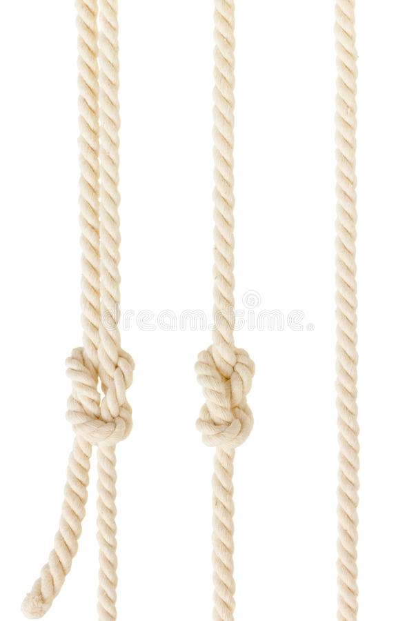 Ship ropes with knot isolated on white background stock images