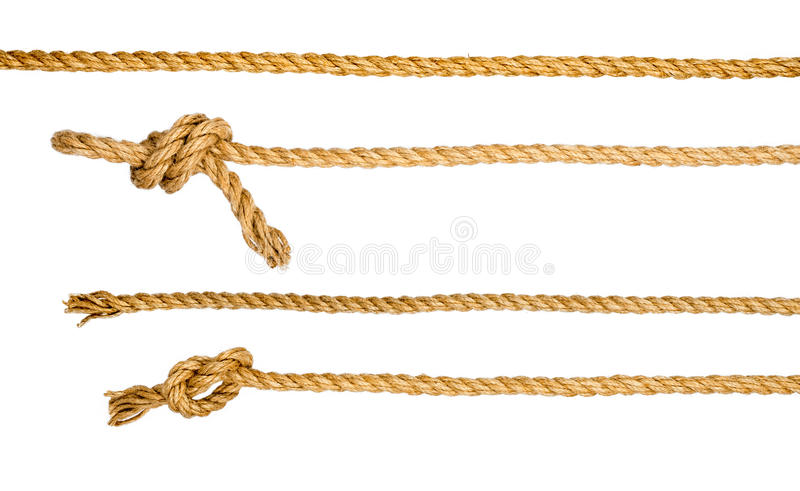Ship ropes with knot isolated on white background stock photos