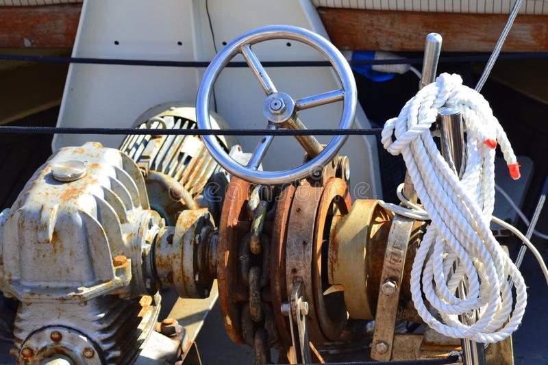 Ship rudder rope chain engine stock photography