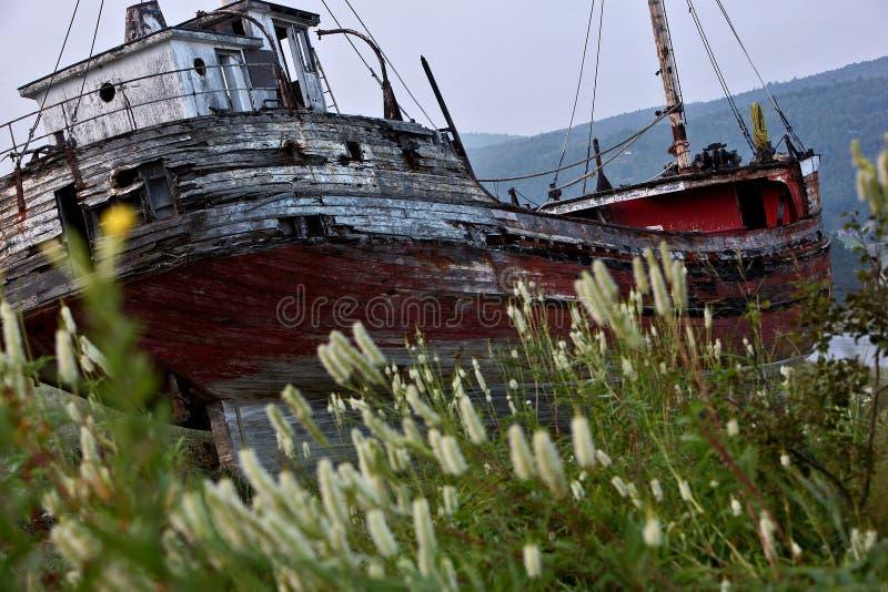 Ship run aground. Abandon ship run aground in Quebec Canada stock images