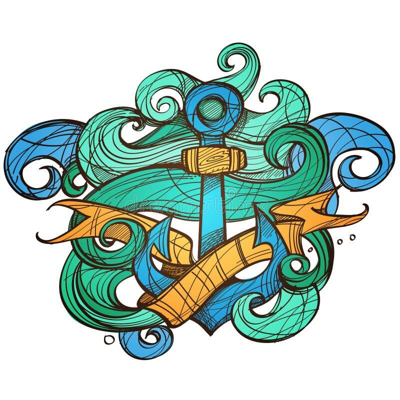 Anchor Tattoo Design Stock Vector. Illustration Of Cruise