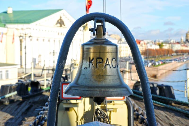 Ship`s bell on the Krasin icebreaker stock image
