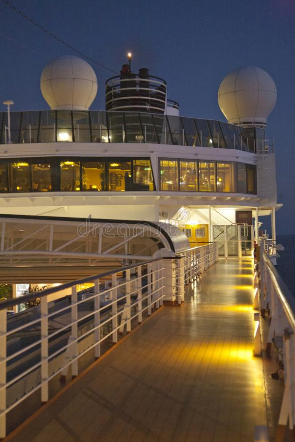 Ship`s deck at night royalty free stock image