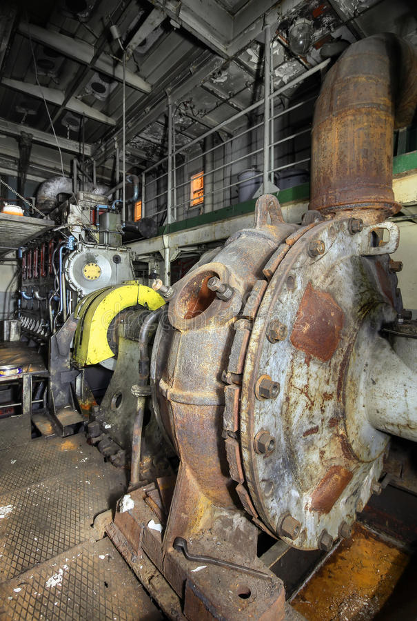 Big Ships Engine Rooms: Engine Room On A Cargo Boat Stock Photo