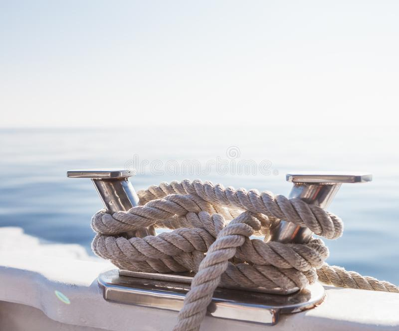 Ship`s ropes on the yacht in Ligurian Sea, Italy. Close-up stock photos