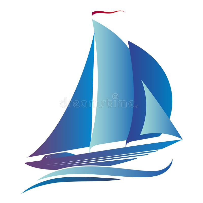 Ship with a sail. On the blue waves stock illustration
