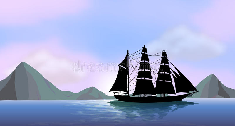 Download A ship sailing stock vector. Illustration of black, picture - 40547647