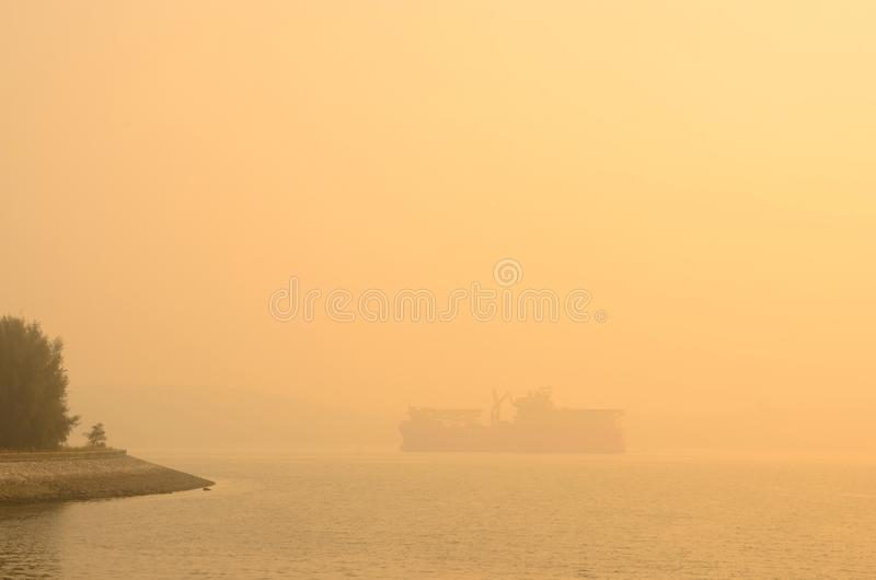 Ship Sailing in Low Visibility royalty free stock image