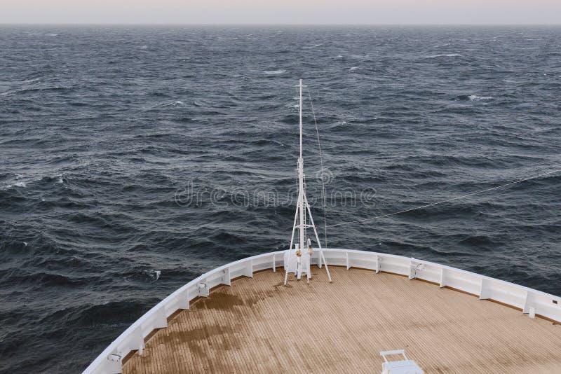 Ship sailing in open sea stock photo