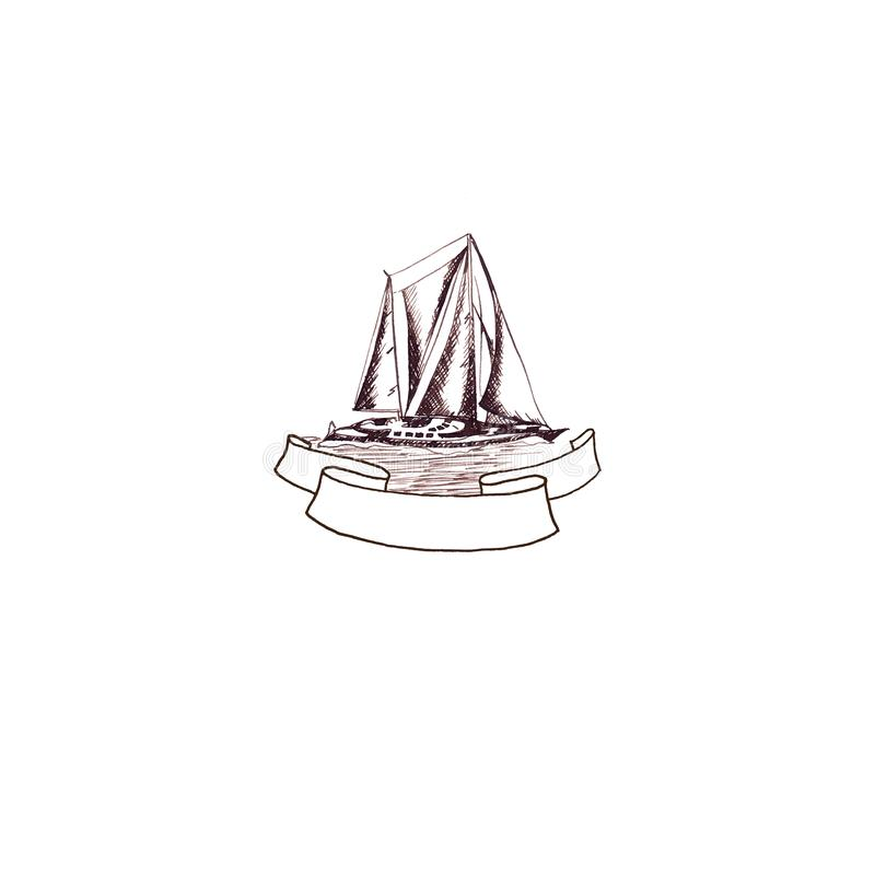 Ship sailing yacht antique vintage with Ribbon frame  swirled brown ink hand drawing. Ship sailing yacht antique vintage with Ribbon frame swirled brown ink hand royalty free illustration