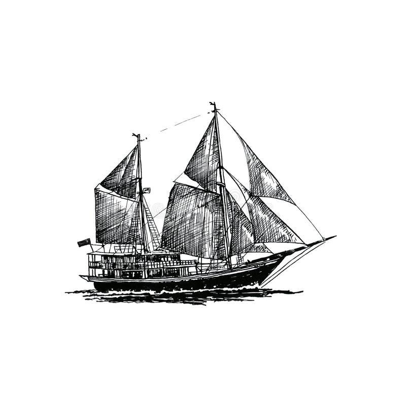 Ship sailing yacht boat antique vintage antique black ink hand drawing. Retro vector illustration
