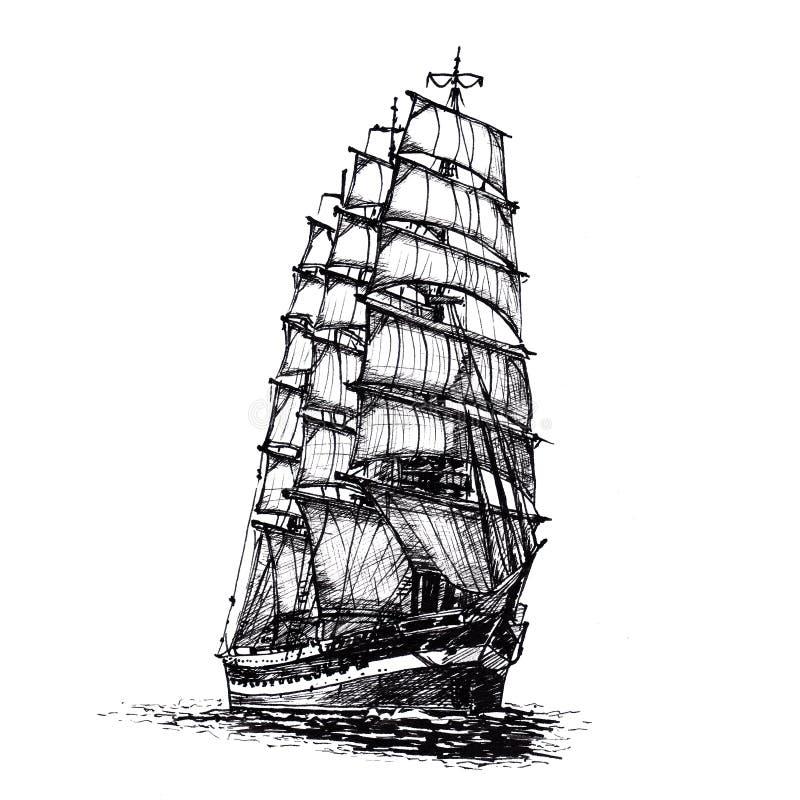 Ship sailing yacht boat antique vintage antique black ink hand drawing. Penmanship stock illustration