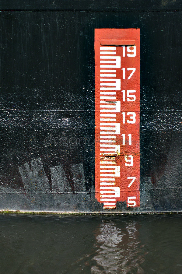 Ship scale. Nice colored scale on a ship's side royalty free stock images