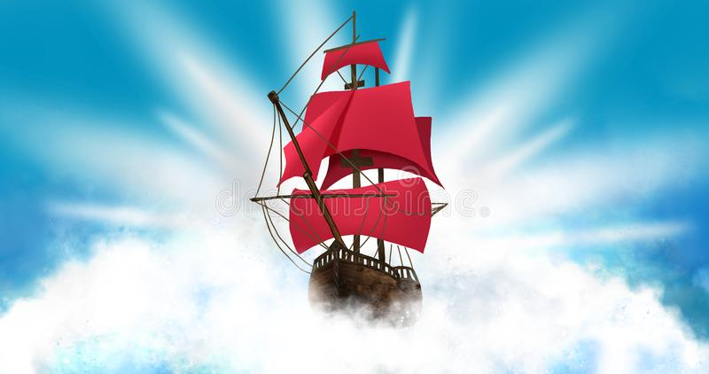 A ship with scarlet sails against the background of a dark, night sky with a star. vector illustration