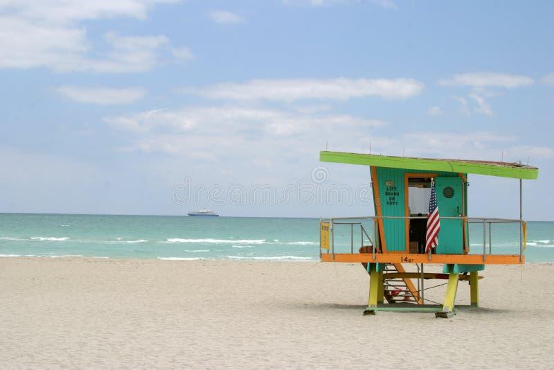 Ship at sea. Miami lifeguard station royalty free stock image