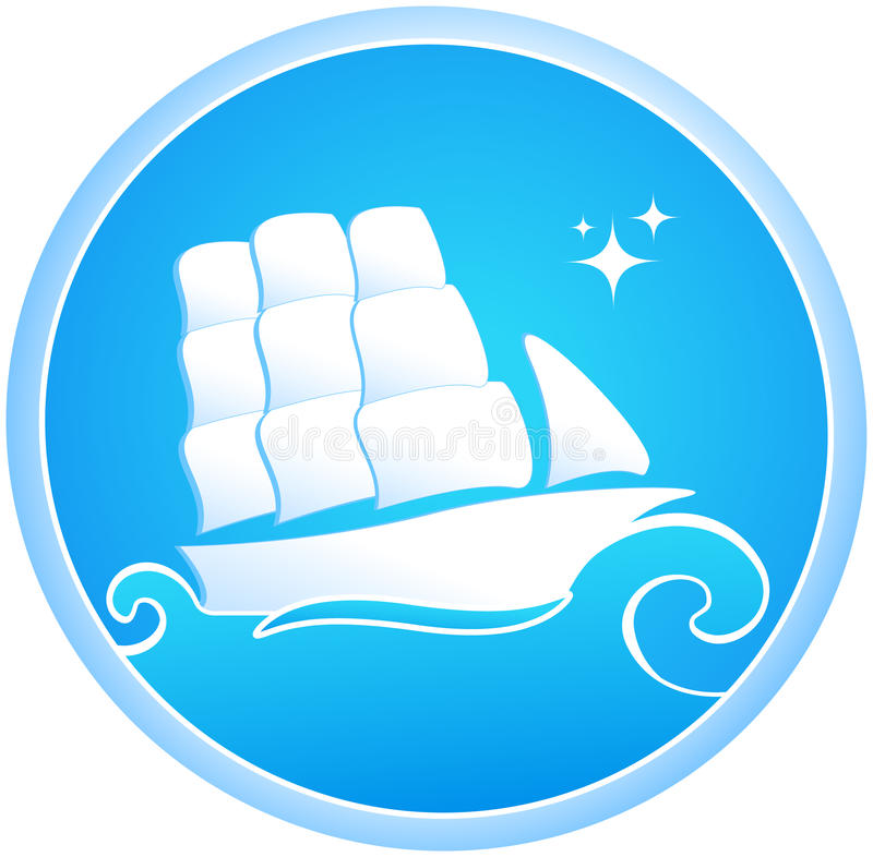 Download Ship and sea stock vector. Image of sign, brig, star - 20528378