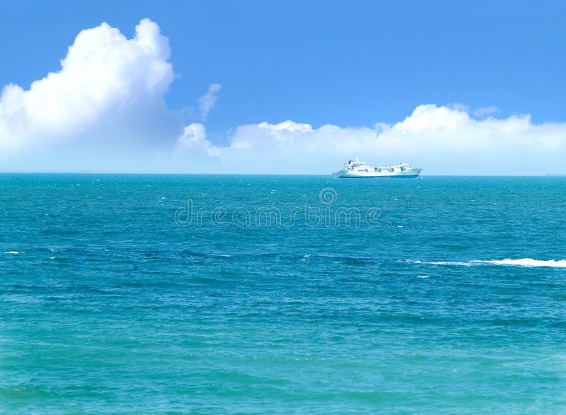 Ship in the sea stock image
