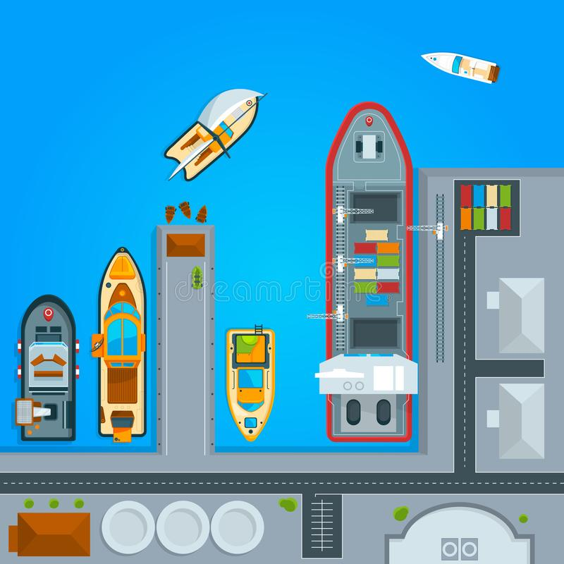 Ship and sea boats in dock. Top view illustrations. Ship and boat, water transportation vector stock illustration