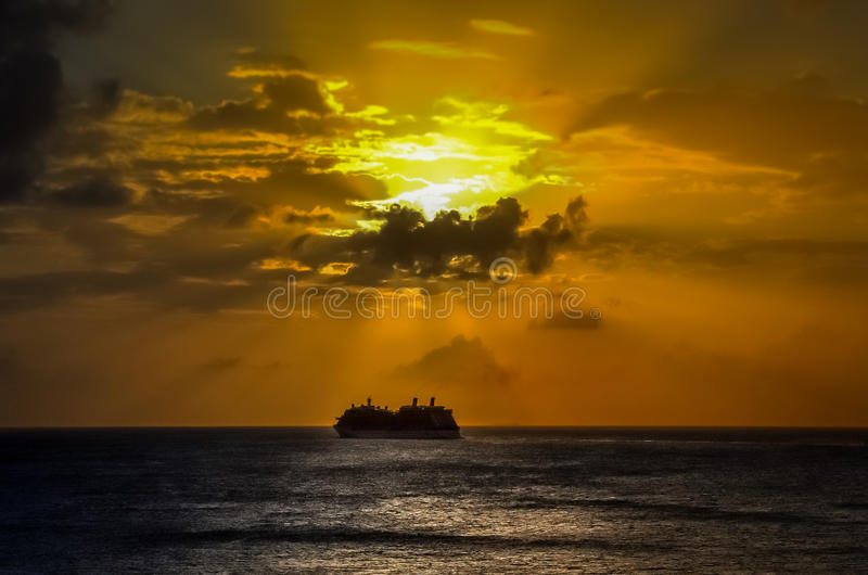 Ship on the sea. stock images